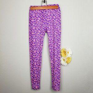 Lularoe purple floral print leggings